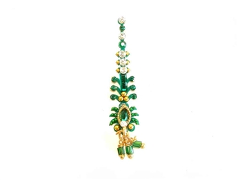 Fancy emerald green bindi jewelry with crystals and gold accents.