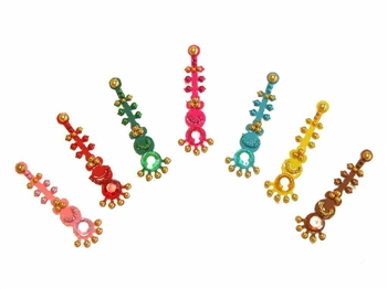 A rainbow of Bollywood  style bindi with matching gems.