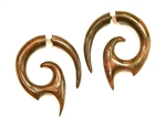 Dragon Teeth Split Expanders Sono Wood Organic Earrings Fake Tapers 1.25""
