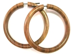 Huge Saba Wood Hoop Earrings Organic Wooden Tribal Hoops 3""