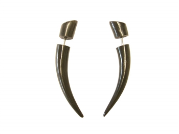 A sleek black horn fake taper earring in the style of a tusk.