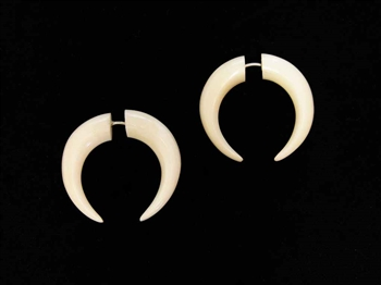 Small crescent shaped earrings are divided evenly in the center.