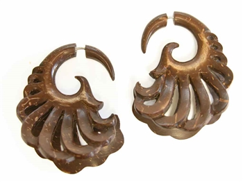 Coconut split expander earrings in a gorgeous drop spiral design.