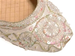 Indian shoes in warm white ivory silk with iridescent beads and sequins with gold threadwork.