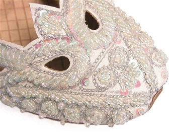 White sateen shoes with iridescent beads and sequin flats for women.