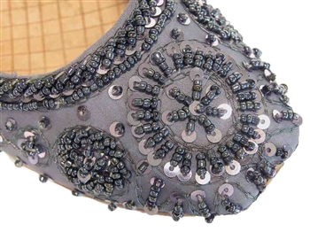 Steel gray silk with matching beads and sequins in a classic Indian shoe style.