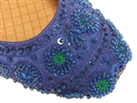 Royal blue silk with matching beads and sequins in a Bollywwod fashion shoe.