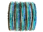 Festive style bangles in royal blue, turquoise, and black with matching glitter.