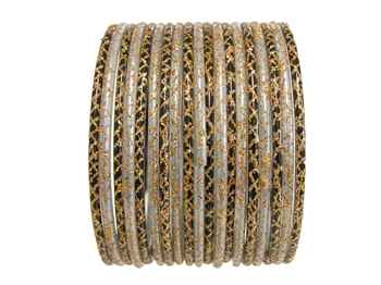 Gray and black bangles accented with gold glitter.