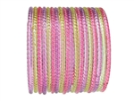 Pink, yellow, and lavender transparent glass bangles with no glitter.