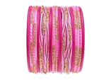 Magenta and pink bangles with gold glitter accents.