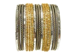 Gold, black, and silver mix perfectly to create a gorgeous bangle set.