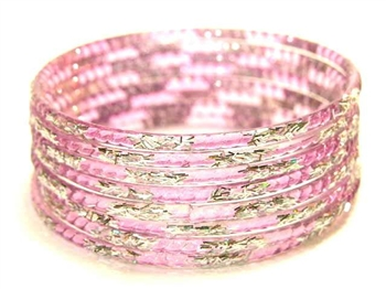 Silver Glitter Lavender Indian GLASS Bangles Sari Bracelets Build-A-Bangle 2.6