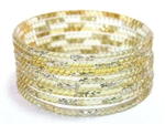 Silver Glitter Yellow Indian GLASS Bangles Sari Bracelets Build-A-Bangle 2.6