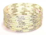 Silver Glitter Lemon Indian GLASS Bangles Sari Bracelets Build-A-Bangle 2.6