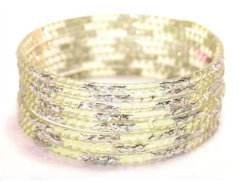 Silver Glitter Lemon Indian GLASS Bangles Sari Bracelets Build-A-Bangle XL 2.12