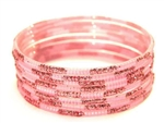 Matching Glitter Pink Indian GLASS Bangles Sari Bracelets Build-A-Bangle 2.6
