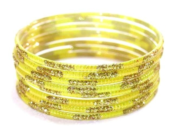 Matching Glitter Yellow Indian GLASS Bangles Sari Bracelets Build-A-Bangle XL 2.12