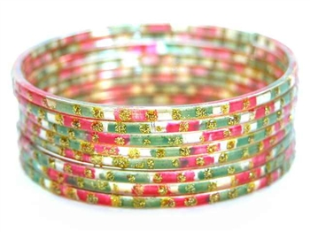 Glitzy Green/Red Indian GLASS Bracelets Build-A-Bangle M/L 2.10