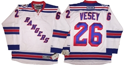 Reebok Premier NHL 2016-17 90th Anniv New York Rangers #26 Jimmy Vesey Away White Jersey
