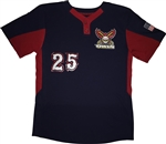 Majestic Islip Owls Coolbase 2- Button Colorblocked Jersey