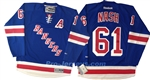 "Reebok Premier NHL ""A"" New York Rangers #61 Rick Nash Home Blue Jersey"
