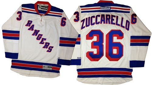 Official Reebok Premier New York Rangers  36 Mats Zuccarello Away White  Jersey 13aed428e520