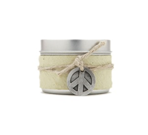 Small Tin Peace Soy Candle Peppermint Pine
