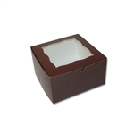 4 Cupcake Box in Brown with window