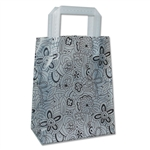 "Frosted Bags Petite - FB-1071-Floral Sketch Black 100 Bags/Case - 8"" x 4"" x 10"""