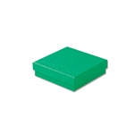 "Dark Green Kraft Jewellery Boxes - 3-1/2"" x 3-1/2"" x 7/8"" 100 Boxes/Pack"