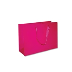 "London Paper Shopping Bags - 12-1/2"" x 4-1/2"" x 9"" Gloss Pink - 100/Pack"