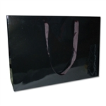 "London Paper Shopping Bags - 20"" x 6"" x 14"" Gloss Black - 50/Pack"