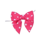 Pre-Tied Dots Grosgrain Twist Tie Bows - Shocking Pink