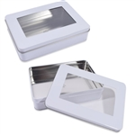 White Rectangle tins with windows