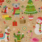 Gift Wrap Christmas Kraft Animals Paper