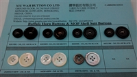 Buffalo Horn Button & MOP Shell Suit Button Samples Card