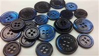 logo-engraved navy blue pearl buttons
