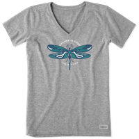 Life is Good Change is Good Dragonfly V-Neck Crusher Tee