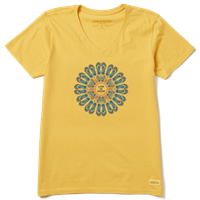 Life is Good Flip Flop Mandala V-Neck Crusher Tee