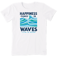 Life is Good Happiness Waves Crusher Crew Tee