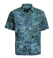 "Men's Batik Button Front Shirt ""Moonstone"""