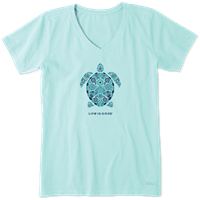 Life is Good Mosaic Turtle V-Neck Crusher Tee