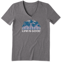 Life is Good Sunny Palms V-Neck Cool Tee