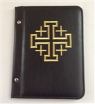A5 Pocketed sleeves in black leather folder with Cross design