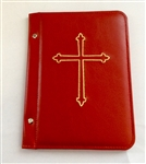 A5 Pocketed sleeves in red leather folder cross design