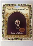 Silver first holy communion pin