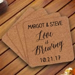 Square or round cork coaster great for save the dates or wedding favors