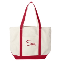 This custom embroidered large heavy duty canvas boat tote makes a perfect gift for your bridesmaids that they can use for years to come