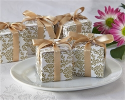 Classic Favor Box in Gold Damask Pattern great packaging for wedding favors